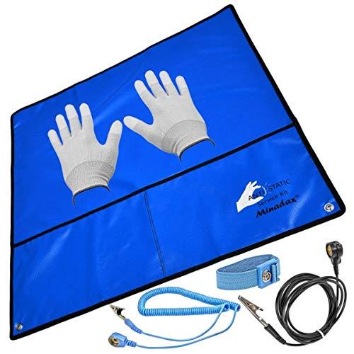 Minadax® 60 x 60cm ESD Antistatik-Set: Antistatikmatte in Blau Handgelenksschlaufe und Erdungskabel + Antistatik Handschuhe - Für EIN sicheres Arbeiten und Schutz Ihrer Bauteile vor Entladungsschäden