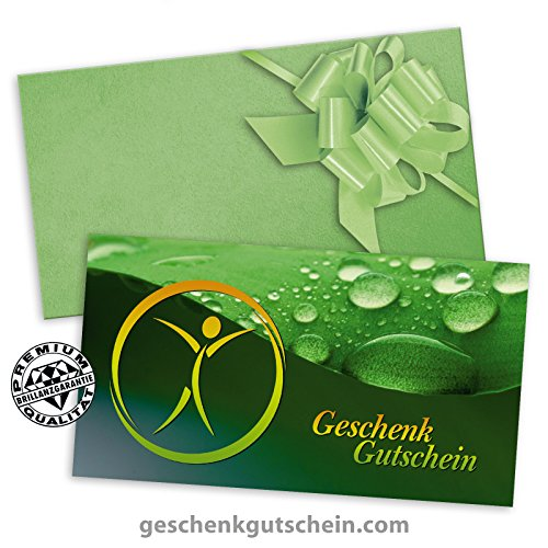 25 Premium Geschenkgutscheine Gutscheine zum Falten + 25 Kuverts + 25 Schleifen für Physiotherapie, Naturheilkunde, Ergotherapie MA236 pos-hauer