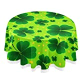 Wamika Happy St.Patrick Day Shamrock Round Tablecloth Spring Golden Coin Clover Floral Table Cloth Cover Mat Lace Washable Polyester 60' Dining Decorative for Holiday Home Party Wedding Picnic