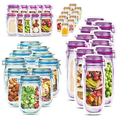 JIPRENS 40 Stück Mason Jar Zip Beutel-Lebensmittel Aufbewahrungsbeutel Wiederverwendbare,Einmachglas Taschen,Frische Reißverschlusstasche Lebensmittel Beutel,zum Backen Keksen Snacks Süßigkeiten