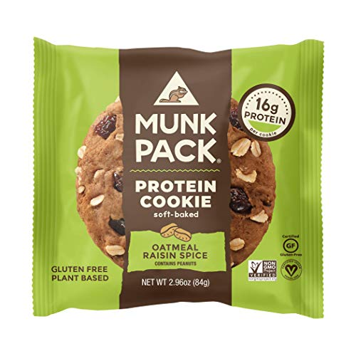 Munk Pack Oatmeal Raisin Spice Protein Cookie with 16 Grams of Protein   Soft Baked   Vegan   Gluten, Dairy and Soy Free   6 Pack from Munk Pack