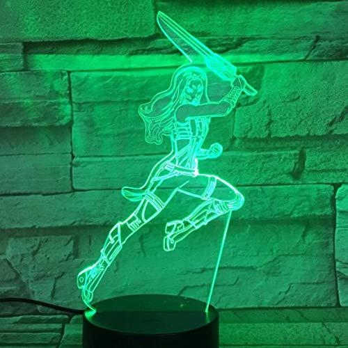 Nur 1 Stück Superheld Film Super Heroe Gamora Abbildung 3d Illusion USB 3d LED Nachtlicht Multicolor Rgb Tischlampe Schlafzimmer Geburtstagsgeschenk
