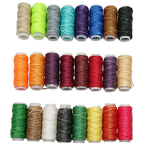Goiio 24 Colors Waxed Thread, Leather Sewing Thread,Hand Stitching Thread for Hand Sewing Leather and Bookbinding, 13Yards Per Color