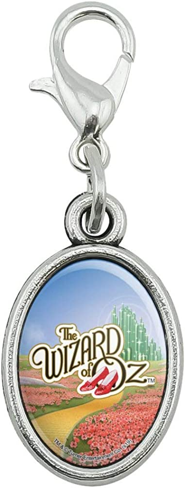 GRAPHICS & MORE The Wizard of Oz Ruby Slippers Logo Antiqued Bracelet Pendant Zipper Pull Oval Charm with Lobster Clasp
