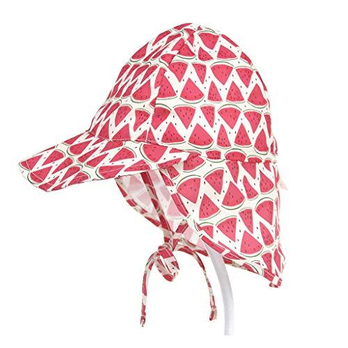 NUEEUDD Verano Niño Niños Bebé Protección UV Nadar Sombrero de Playa Impresión Linda de la Historieta Gorra de Sol Ajustable al Aire Libre con Solapa del Cuello 5# L #