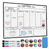 Magnetic Weekly Dry Erase Board Calendar Whiteboard - Magnetic Weekly Planner for Refrigerator - Stain Resistant Nano Technology - 3 Fine Tip Markers and Eraser, 10 Highlight Icons 16inchX12inch