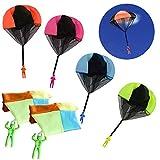 Anyasen Paracaidas Infantil 10 Piezas Juguetes de Paracaídas Juguete Paracaídas Set Mano Que Lanza el Juguete del Paracaidista con Soldados, para Juegos Aire Libre para Niños
