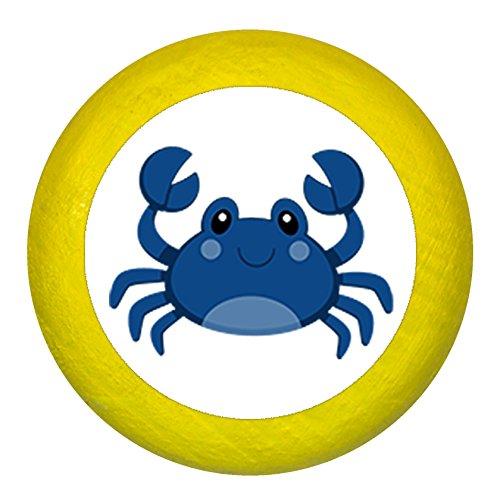 Kommodengriff Möbelknauf Möbelknopf Möbelgriff Jungen hellblau dunkelblau blau Massivholz Buche - Kinder Kinderzimmer Krabbe blau Meerestiere maritim - gelb