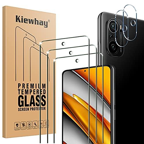 Kiewhay Protector de Pantalla Compatible con Xiaomi Mi 11i 5G/ Poco F3 Cristal Templado, 3x Vidrio Templado +2x Protector de Lente de Cámara, HD Protector Pantalla para Mi 11i 5G/ Poco F3 -5 P