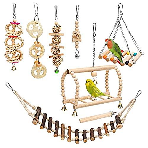 Mecmbj Papageien-Spielzeug, 8PCS Papageien-Kauspielzeug, kleines und mittelgroßes Vogelspielzeug, Holzschaukelringe, Glockensaiten, weiche Holzleitern, Vogelhaus-Treppe, für Vogelstangen