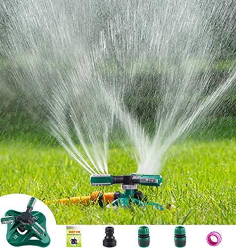 WOVUU Garden Sprinkler,Upgrade Lawn Sprinkler Automatic 360 Degree Rotating Irrigation Sprinkler System, Garden Hose Sprinkler for Yard/Built in 36 Units Angle Spray Nozzles (Green)