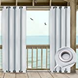 NICETOWN Outdoor Cabana Curtains - Triple Weave Microfiber Room Darkening Wind Resistant Drape