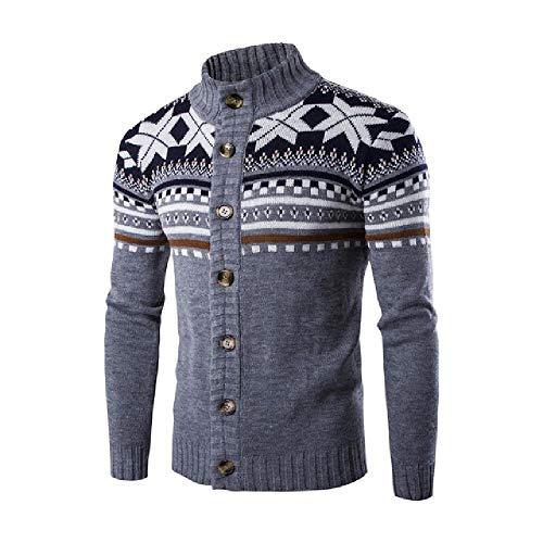 Suéter de los hombres de Navidad de manga larga Cardigan masculino delgado invierno caliente suéteres