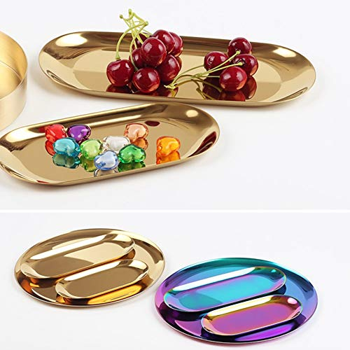 HANGON Rainbow Stainless Steel Storage Trays Dishes Plate Fruit Japanese Snack Foods Plate Dish Decor Canteen Dinnerware Food Container