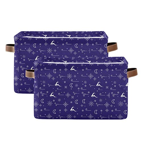 Blueangle Christmas Deer Moon Star Rectangle Storage Bin, 15 x 11 x 9.5 in, Collapsible Organizer Storage Basket for Home Christma Décor, 2PCS