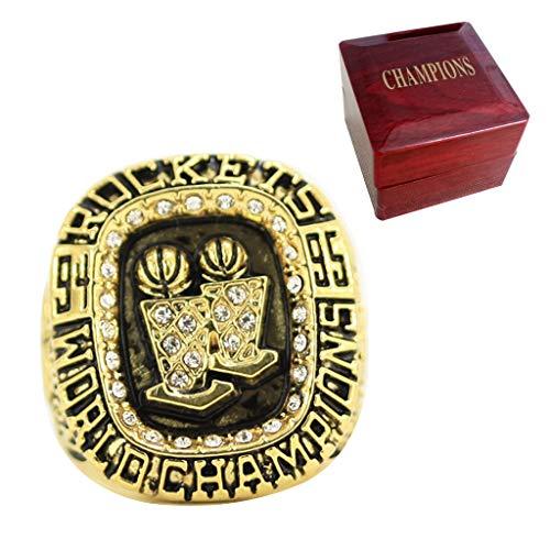 1995 cohetes Campeonato Anillo Baloncesto MVP Réplica Anillo Oro Deportes Campeones Anillos Con Madera Caja De Exhibición 12
