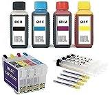Cartucce ricaricabili con chip auto reset E 603 XL + 400 ml di inchiostro Ink-Mate per Expression Home XP- 2100, 2105, 3100, 3105, 4100, 4105, WorkForce WF- 2810, 2830, 2835, 2850