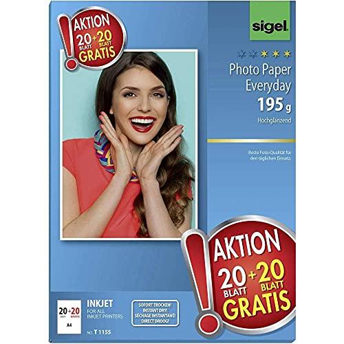 Sigel T1155 Sigel T1155 HOT DEAL InkJet Everyday Fotopapier, hochglänzend, 131.7 lbs, A4, 45 Blatt