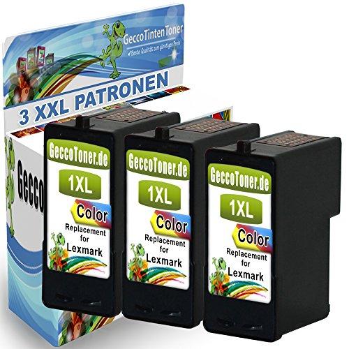 3X Kompatible Druckerpatrone Als Ersatz für Lexmark Nr. 1 XL Color Farbig Colour für Lexmark X2310 X2315 X2330 X2350 X2450 X2470 X3450 X2320 X2340