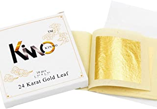 Edible Gold Leaf Gold Foil Sheets 4.33 x 4.33 cm 24K Pure Genuine Facial Edible Gold Leaf for Cooking, Cakes and Chocolates, Decoration, Health & Spa (10 Sheets)