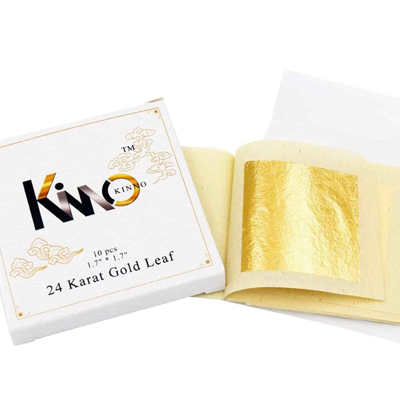 KINNO Edible Gold Leaf Sheets 10 Sheets 4.33 x 4.33 cm 24K Pure Genuine Facial Gold Foil for Cooking, Cakes & Chocolates, Decoration, Health & Spa
