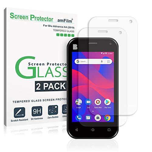 amFilm Glass Screen Protector for Blu Advance A4 (2019) (2 Pack) Tempered Glass