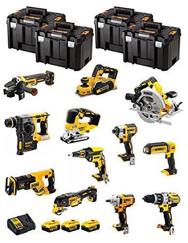 DeWALT Kit DWK1201T (DCD996 + DCH273 + DCG405 + DCF887 + DCF894 + DCS334 + DCS570 + DCS355 + DCP580 + DCS367 + DCL050 + DCF620 + 3 Baterías de 5,0 Ah + Cargador + 4 x TSTAK VI)