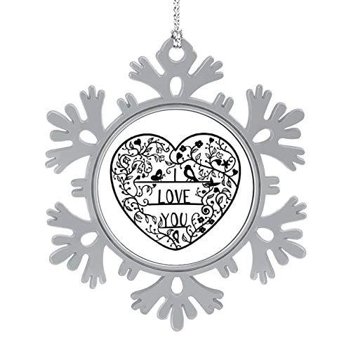 Christmas Ornaments 2020, 3'' Snowflake Meatal Ornament I Love You Black Home Hanging Decor for Xmas Tree Christmas Tree Decorations