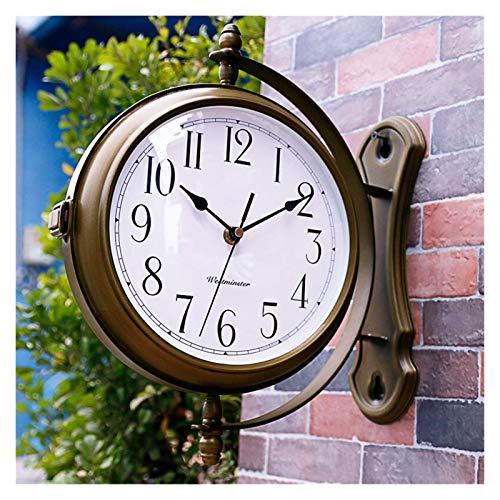 Reloj de Pared Reloj de Pared de Doble Cara Sin tictac Silencioso 360 Pared rodante Decoración Lateral Westminster Música Ajustable Alarma Control de Sensor de luz Metal Plata