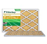 FilterBuy 10x30x1 Air Filter MERV 11, Pleated HVAC AC Furnace Filters (2-Pack, Gold)