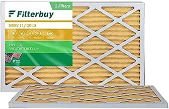 FilterBuy 10x20x1 Air Filter MERV 11, Pleated HVAC AC Furnace Filters (2-Pack, Gold)