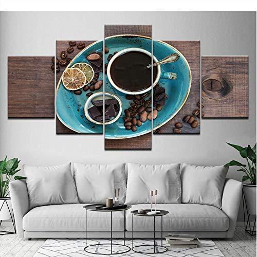 cxtnt Leinwand Malerei Kaffee Kaffeebohne Schokolade 5 Stück Wandkunst Malerei Modulare Tapeten Poster Print für Wohnzimmer Dekor