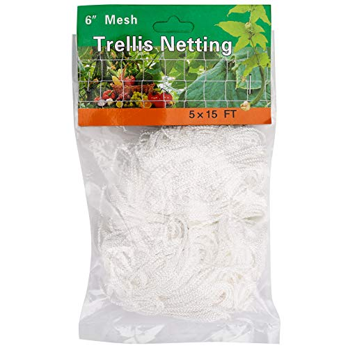 BetyBedy 5 x 15FT Trellis Netting HeavyDuty Polyester Plant Trellis Netting Square Mesh Net for Climbing Plant Fruits Vegetables Vines Grow Tents 1 Pack White