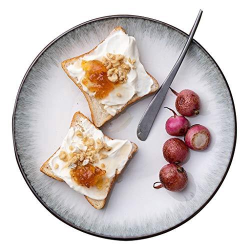 platos De Carne De Cerámica Ramen Grande De Comida Occidental Doméstica Cerámica Redondo para Ensalada Adecuado para Horno Microondas, Pasta