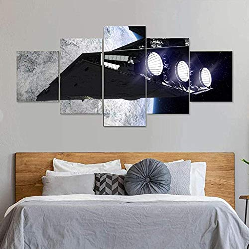 LOVEQ 5 Piece Wall Decor Canvas Art Framed HD Star Wars Imperial Star Destroyer HD Print Abstract Prints Modern Home Bedroom Wall Decorations Inspirational Wall Art Posters Artwork