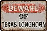 Tarika Beware of Texas Longhorn Eisen Poster Vintage