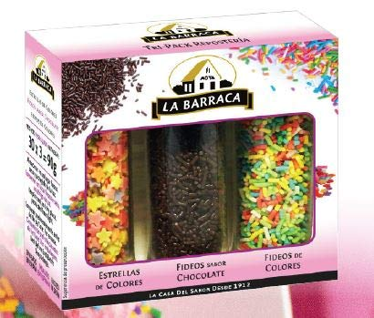 Kit Reposteria: Fideos chocolate + Estrellitas de colores + Fideos de colores