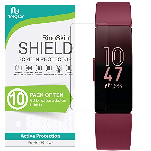 (10-Pack) RinoGear Screen Protector for Fitbit Inspire 2, 1, or HR Case Friendly Fitbit Inspire 2, 1, or HR Screen Protector Accessory Full Coverage Clear Film