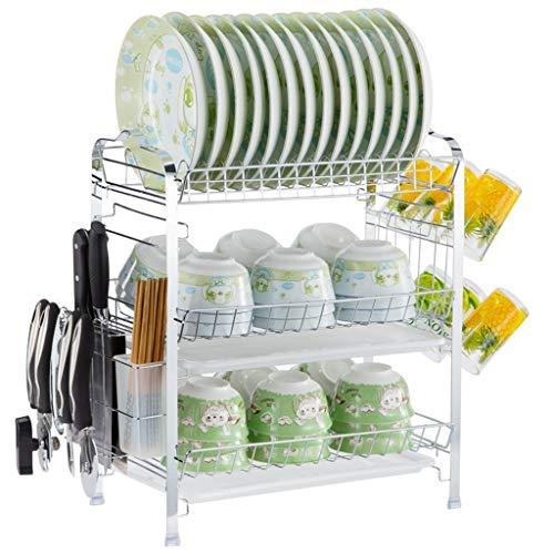 OldPAPA Escurreplatos de Acero Inoxidable, Soportes para Platos Dish Drainer Dish Rack Holder Organización Estante, para la Cocina, Plateado, 3 Niveles (A)