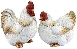 CAPRILO Set de 2 Figuras Decorativas de Resina Gallo y Gallina Adornos y Esculturas. Animales. Decoración Hogar. Regalos O...