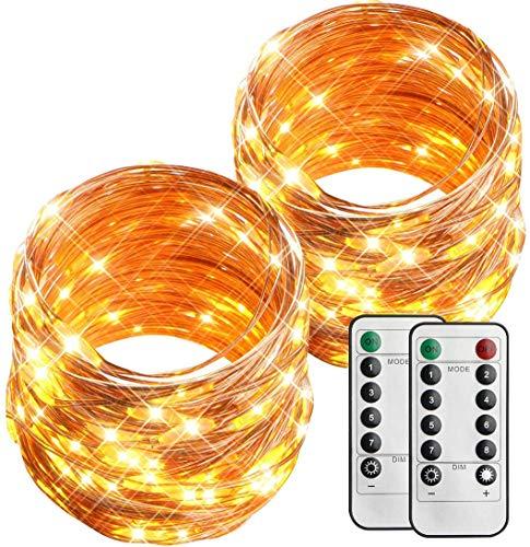 esLife 2 Stk Lichterkette 100 LED 10 Meter 8 Modi Batteriebetrieben Lichterkette Wasserdicht Außenbeleuchtung mit Fernbedienung und Timer DIY Kupferdraht für Garten, Weihnachtsfeier Warmweiß