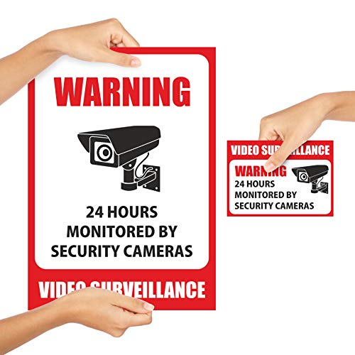 10 Pack Video Surveillance Sign Stickers - Self-Adhesive Vinyl Decal Camera Alarm System Stickers - 24 Hours Security Warning Signs - Monit   ored by Security Camera Stickers - Indoor