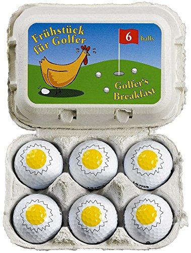 Lustiges Golfgeschenk/Ostergeschenk Frühstück für Golfer 6 witzige Golfbälle in der Eierverpackung