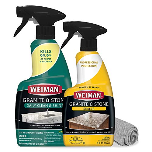 Weiman Granite Sealer and Cleaner and Polish (Microfiber Cloth) for Granite Countertops