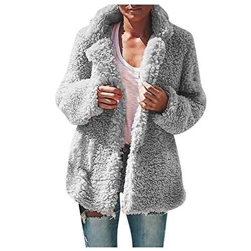 Abrigo de solapa difusa para mujer de manga larga flojo de forro polar cálido casual