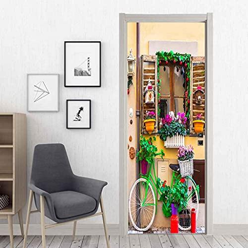 BARFPY 3D Etiqueta de Puerta Autoadhesivo Desmontable Alféizar de la ventana cesta de flores bicicleta mural de puerta Pvc Art Papel Tapiz Fotográfico Habitación De Los Niños Dormitorio Cocina Mural 8