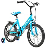 Max4out Kids Bike for Boys and Girls, 16 inches Children Bicycle Foldable with Flash Training Wheels, Blue
