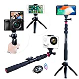 Selfie Stick Andoer Phone Tripod for iPhone X/8/7 Plus for Samsung S8 for GoPro Hero 6/5/4/3+/3 Action Camera/Digital Camcorder Video Mini Tripod + Phone Tripod Mount + Wireless Remote Control