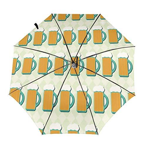 Bier Buntes Muster Automatischer dreifach gefalteter Regenschirm Sonnenschirm Sonnenschirm Sonnenschirm