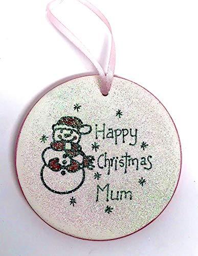 Una Casa Happy Christmas Mum - Decoración redonda de cerámica de Papá Noel